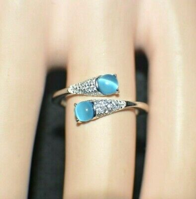 """1.24ct NATURAL BLUE OPAL """" CATS EYE""""  GENUINE TOPAZ STERLING  SILVER RING"""