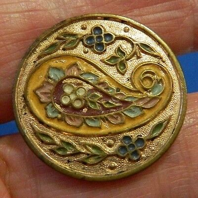 Antique Vtg One Piece Brass Button PAISLEY Colorful Enamel Design with flowers