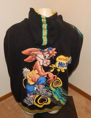 NESTLE NESQUIK Black Hoodie Jacket (Size 4XL) ~ EMBROIDERED COLORFUL RABBIT