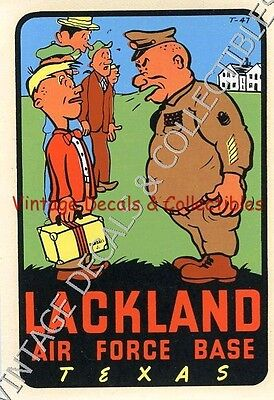 Vintage Lackland Air Force Base Texas Wwii Souvenir Travel Decal Novelty Signed