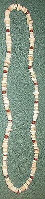 Indian Artifacts 235 Indian Red Glass Shell Beaded Necklace 1700S California
