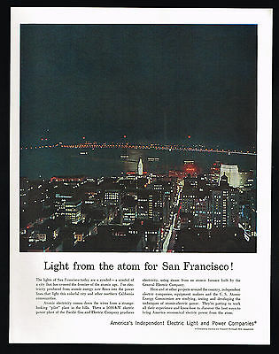 1957 San Francisco California At Night Pacific Gas Electric Co Atomic Power Ad