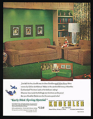 1954 Kroehler Furniture Sofa Chair Twin Sectional Vintage Photo Print Ad