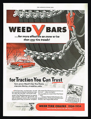 1954 Weed V Bar Car Snow or Ice Tire Chains Vintage Print Ad