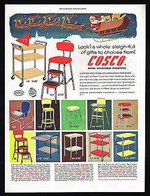 1954 Cosco Metal Cart Stool Cart Table High Chair Illus Prices Vintage Print Ad