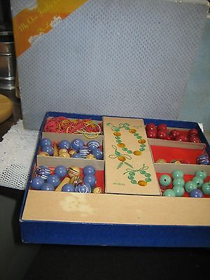 "Vintage Wooden TOY Beads Antique ""My Own Jewelry Box"" De Luxe Boxed Set"