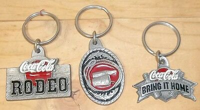 3 Coca-Cola Pewter Enamel Coke Keychains 1997 - Western, Rodeo, Bring  It Home