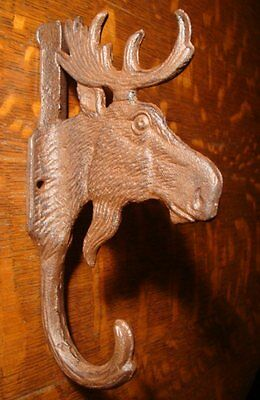 Rustic Brown Cast Iron Moose Towel Hook Lodge Cabin Bathroom Kitchen Home Decor