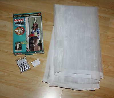 "Magic Mesh Magnetic Hands Free Screen Door  2 pc 83"" x 19.75"" Mesh Panels  WHITE"