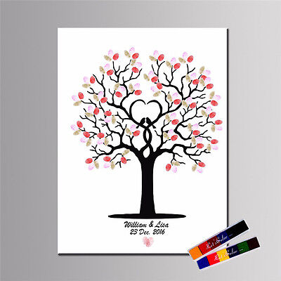 Fingerprint Thumbprint Tree Personalised Wedding Alternative Guest Book Gifts