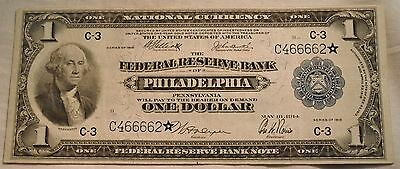 1918 $1 National Currency STAR NOTE C 3 Philadelphia Federal Reserve Bank, PA