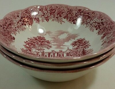 Vtg J&G Meakin Romantic England Red Soup Cereal Set-3 Bowls Dish Chequers Bea...