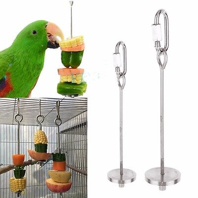 Stainless Steel Bird Parrot Feeder Stick Cage Meat Holder Food Fruit Skewer Toy