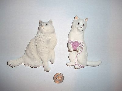 """2 Realistic Long Haired Cat Figural Rubber Magnets By Swibco 4"""" Large"""