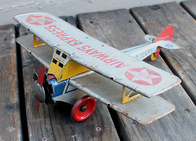 ANTIQUE Vintage 1930s Girard AirWays Express World Tour Wind Up Tin Toy Airplane