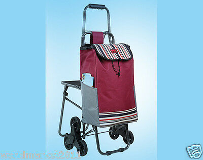 Red Pattern Chair Six-Tire Convenient Collapsible Shopping Luggage Trolleys