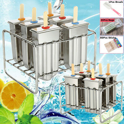 6 Molds Stainless Steel Popsicle Mold Pop Lolly Ice Cream Stick Holder UK Ship