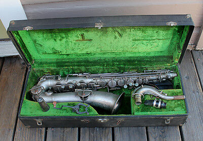 ANTIQUE Buescher True Tone Low Pitch C Melody Saxophone Silver Plate Gold Bell