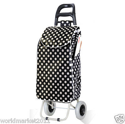 Convenient White Round Pattern Two Wheels Collapsible Shopping Luggage Trolleys