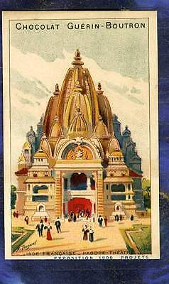 Chromo Guerin-Boutron expo Universelle 1900 Tour Inde India Tower Pagode Théâtre