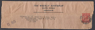 1941 The Weekly Scotsman, Edinburgh 1d Newspaper Wrapper: Bangkok, Siam/Thailand