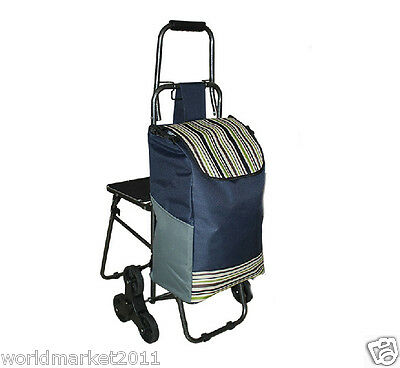 Navy Blue Stripe Chair Six-Tire Convenient Collapsible Shopping Luggage Trolleys