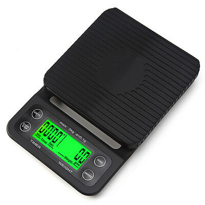 Mini Digital LED Display Coffee Drip Scale with Timer Function 3kg/0.1g Black
