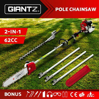62CC Pole Chainsaw Trimming Cutting Extension Tree Branches Garden Front Yard