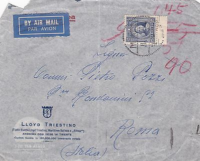1937 China Lloyd Triestino Line Air Mail Cover Posted To Rome Italy Jewish ? 30*