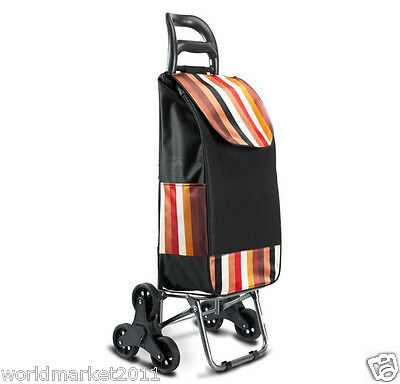 New Convenient Steel Stripe Black Six-Tire Collapsible Shopping Luggage Trolleys