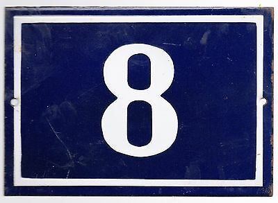Large old blue French house number 8 door gate plate plaque enamel metal sign