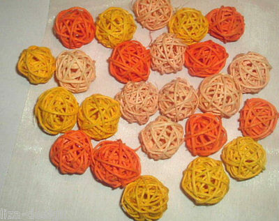 24 x Rattankugeln * 3cm * ORANGE MIX *  Rattan Kugeln Reben