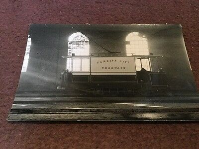 Old Photo Card Cardiff City Tramways