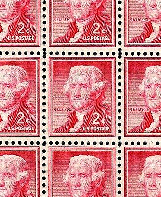 1954 - THOMAS JEFFERSON - #1033 Full MInt -MNH- Sheet of 100 Postage Stamps