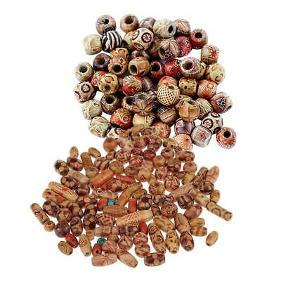 200x Wooden Boho Large Hole European Beads Charms for Crafts Jewelry Making