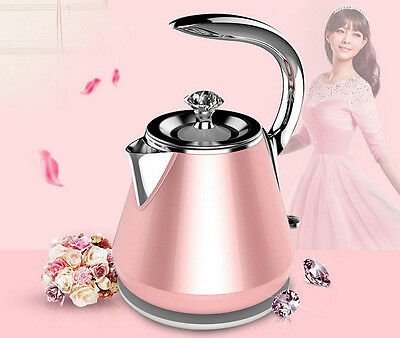 Pink  Stainless Steel Capacity 1.2L Home Kitchen Electric Kettle