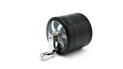"""Black Herb Grinder w/ Handle Spice Crusher for Tobacco Hand Muller 2"""" 4 Piece"""