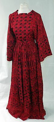 Vintage 1970s Handmade Cotton Maxi Dress with Bell Sleeves Size UK8