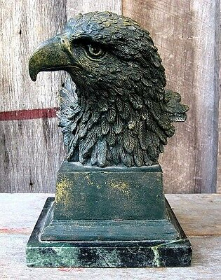Heavy Distressed Finish Eagle Bust Home & Garden Sculpture Style Metal Figurine