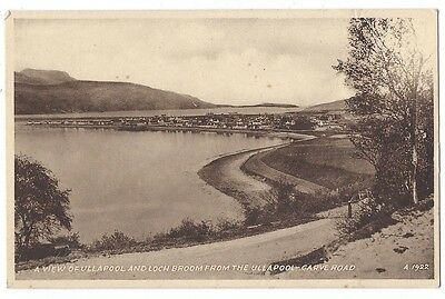 ULLAPOOL and Loch Broom from Garve Road, Old Postcard by Valentine, Unused