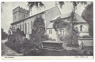 HAY ON WYE St Mary's Church, Old Postcard by Grant, Unused