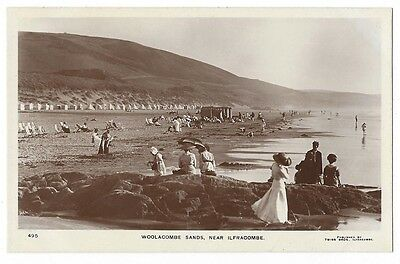 WOOLACOMBE Sands near Ilfracombe, Animated Scene, RP postcard by Twiss, Unused