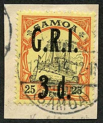 Samoa NZ Occupation SG105 3d on 25pf Very Fine used on Piece