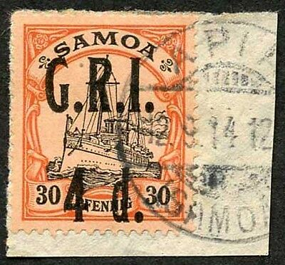 Samoa NZ Occupation SG106 4d on 30pf Very Fine used on Piece