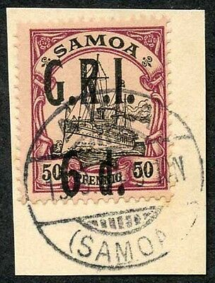 Samoa NZ Occupation SG107 5d on 50pf Very Fine used on Piece