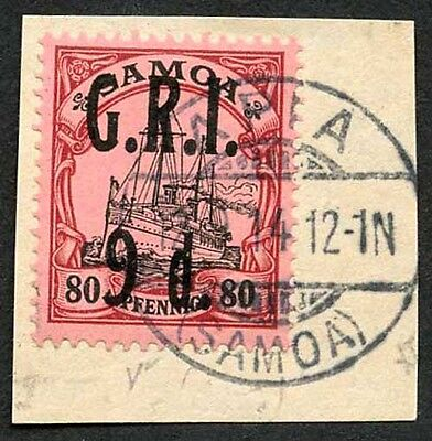 Samoa NZ Occupation SG108 9d on 80pf Very Fine used on Piece