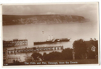 SWANAGE The Cliff and Paddle Steamer at Pier, RP Postcard Postally Used 1931