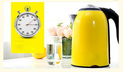 Yellow High-capacity Stainless Steel Capacity 1.7L Home Kitchen Electric Kettle