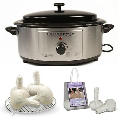 6 Quart Heater for Hot Stone Massage + Thai (Lavender) Herbal Compress Ball