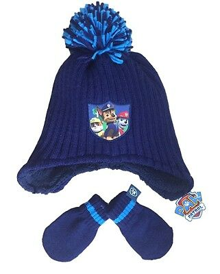 Boys Paw Patrol Hat Mittens Set Chunky Fleece Lined Knitted Hat Mitts Ex Store